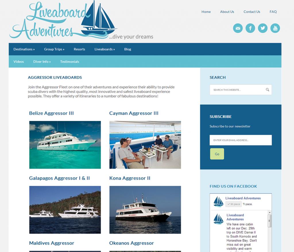 Liveaboard Advendtures Boat Category Page